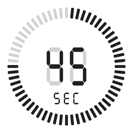 The digital timer 45 seconds. electronic stopwatch with a gradient dial Illustration