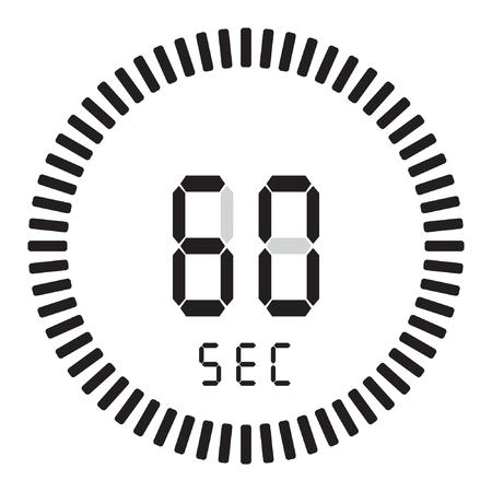 Il timer digitale 60 secondi, 1 minuto. cronometro elettronico con quadrante sfumato Vettoriali