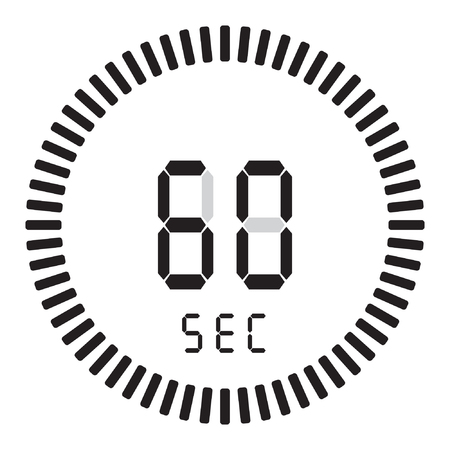 The digital timer 60 seconds, 1 minute. electronic stopwatch with a gradient dial
