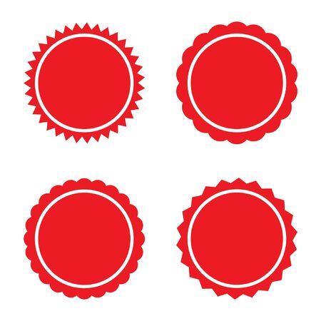 Set of red retro starburst, sunburst badges. Vector illustration. 向量圖像