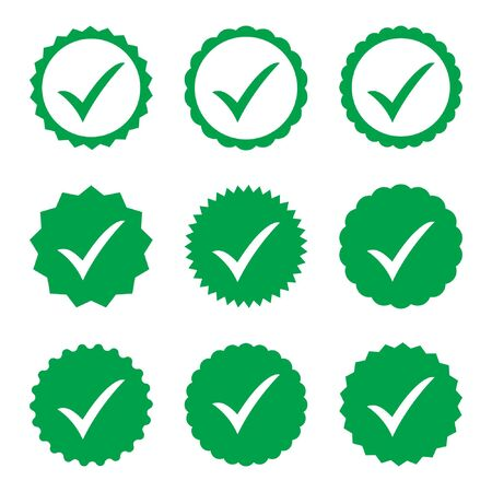 Approved icon. Profile Verification. Accept badge. Quality icon. Check mark. Sticker with tick. 向量圖像