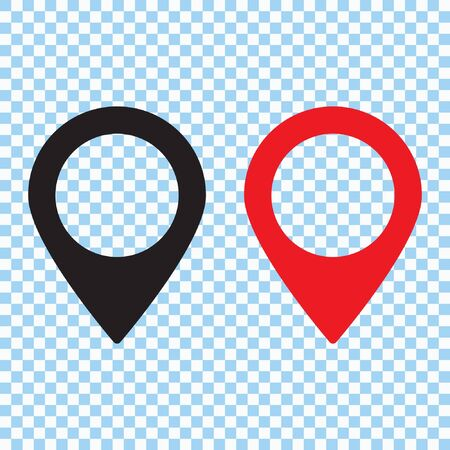 Red and black maps pin. Location map icon. Location pin. Pin icon vector.