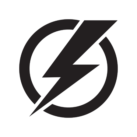 Lightning bolt, electricity power vector icon  イラスト・ベクター素材