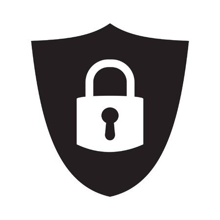Shield security with lock symbol. Protection, safety, password security vector icon illustration. Firewall access privacy sign. Lock security icon for login page. Website guard emblem.