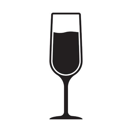 Icône simple de verre de champagne. Illustration vectorielle isolée sur fond blanc.