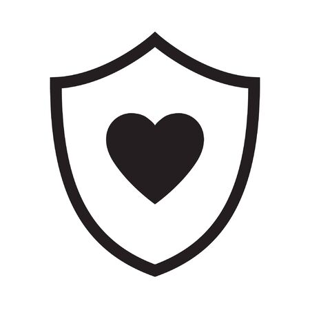 Love and care logo, shield with heart logo. Protection shield with heart flat vector icon. Vector illustration