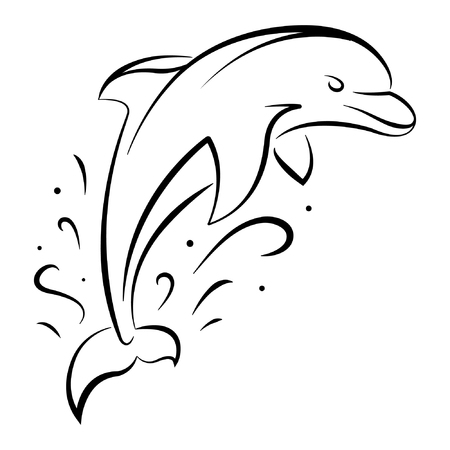 Cartoon Dolphin Jumping Over the Sea Waves Ilustração