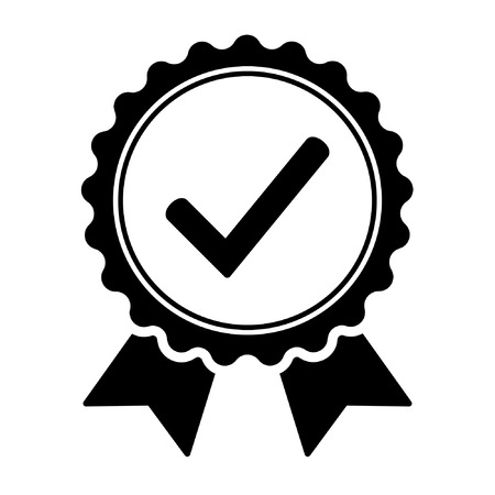 Quality check ribbon icon. Approved certificate certificate Standard-Bild - 122775149