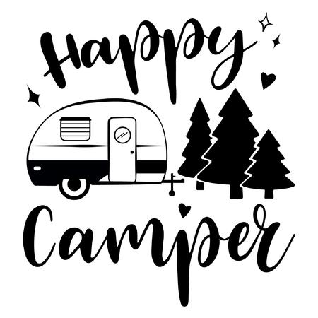 Pobierz wektor szczęśliwy Camper. Rekreacja mobilna. Happy Camper przyczepa w stylu sylwetka szkic.