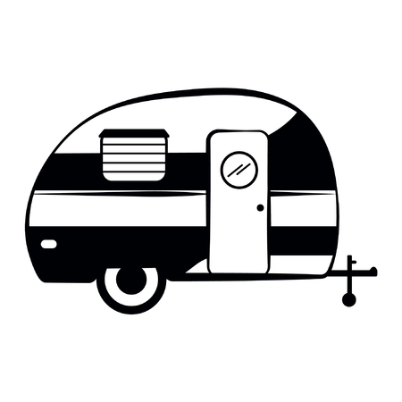 Camper trailer icon, Camper vector Illustration isolated Ilustração