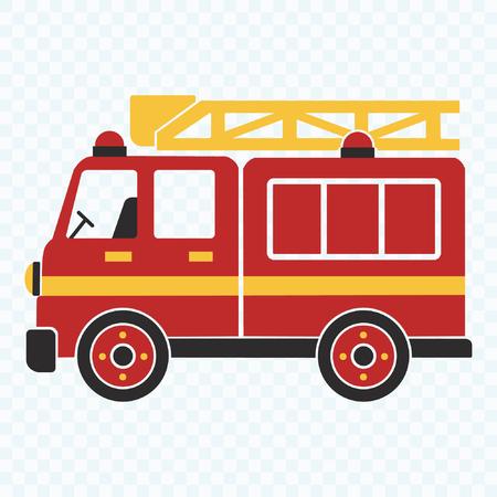 Fire Truck, cartoon vector illustration for kids Stok Fotoğraf - 121678485
