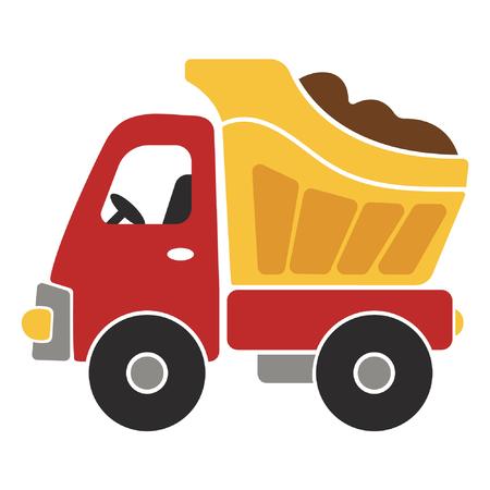 Toy Dump Truck Cartoon Vector Illustration for Kids