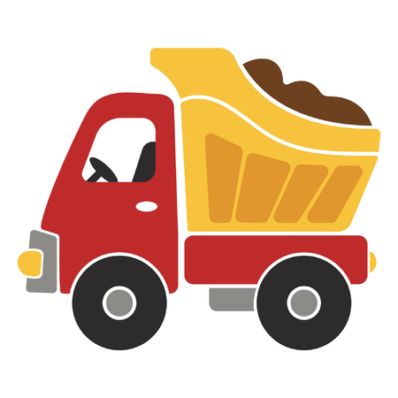 Toy Dump Truck Cartoon Vector Illustration for Kids Vetores