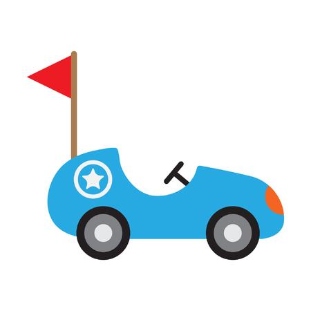 Toy racing car, flat vector illustration for kids Standard-Bild - 122616990