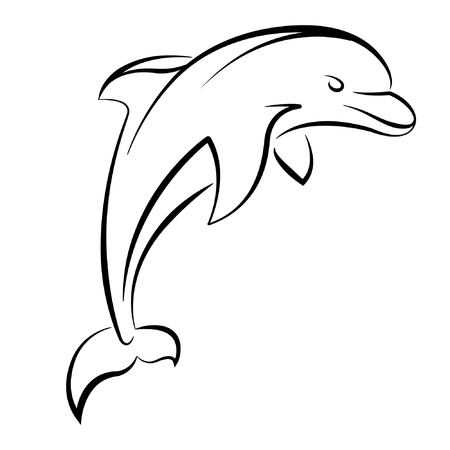 Dolphin vector illustration isolated on white Standard-Bild - 122616994