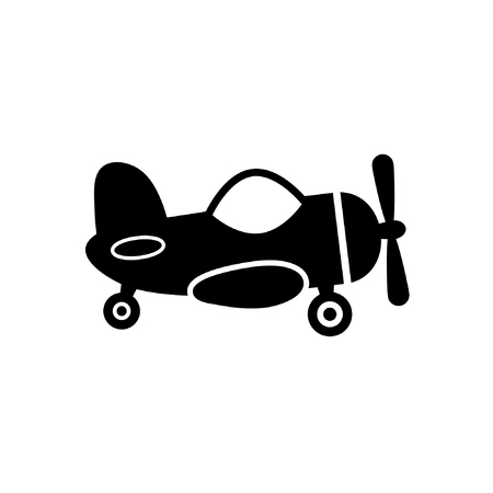 Cute airplane toy icon vector isolated