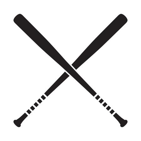 Baseball croisé chauves-souris vector illustration, icône isolé