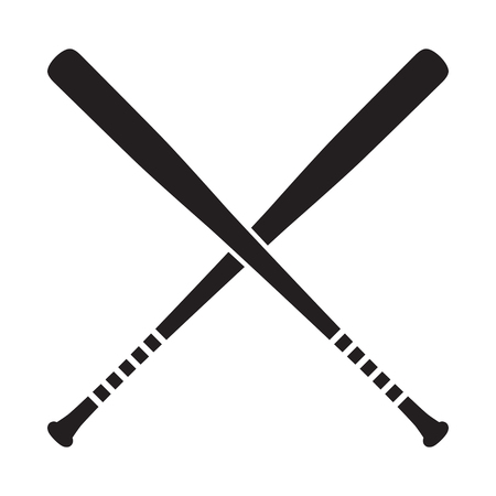 Ilustración de vector de murciélagos cruzados de béisbol, icono aislado