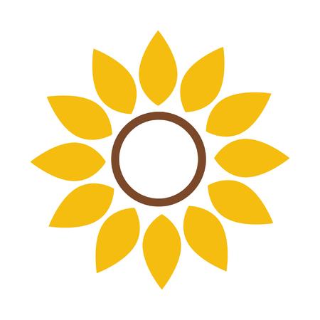 Sunflower vector illustration, sunflower frame isolated on white background Ilustração