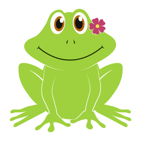 Cute frog cartoon vector isolated