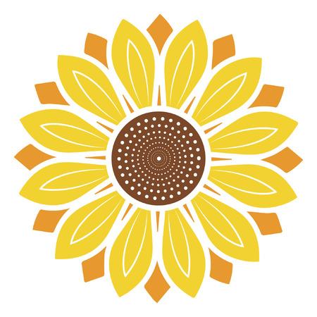 Sunflower vector illustration, sunflower isolated on white background