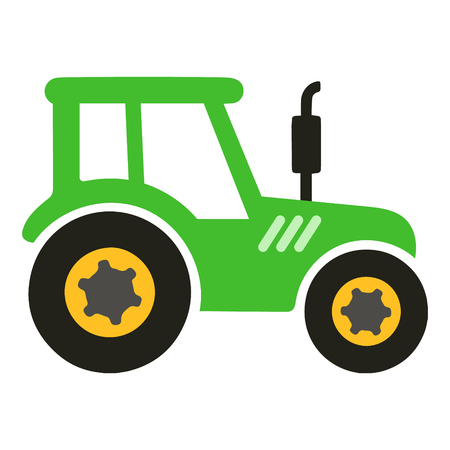Big green tractor vector cartoon isolated Illustration