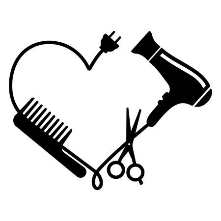 Vettore logo parrucchiere: pettine, asciugacapelli e forbici Logo