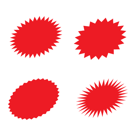 Set of red retro starburst, sunburst badges. Vector illustration. Standard-Bild - 123536081