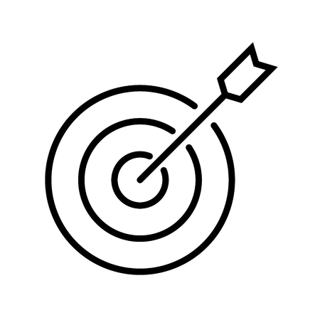 Target with arrow vector icon. Editable stroke. Standard-Bild - 123536259