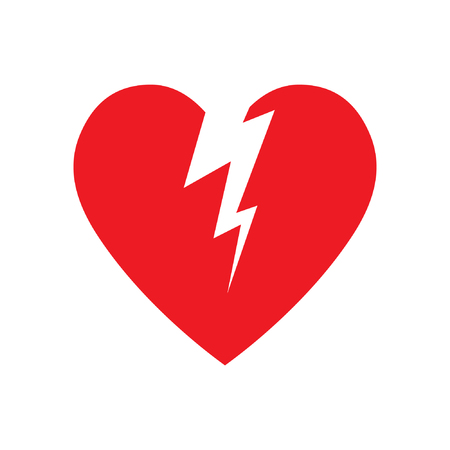 Broken Heart vector icon. red broken heart isolated illustration Standard-Bild - 123536265