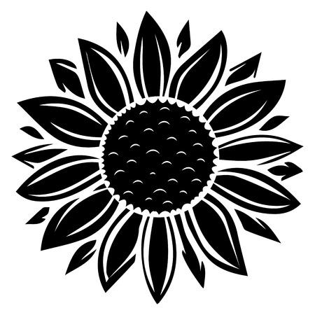 Illustration vectorielle de tournesol en couleur noire
