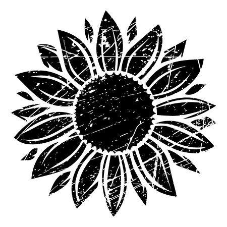 Grunge sunflower vector illustration in black color Vectores