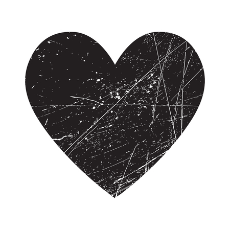 Grunge black heart vector isolated icon
