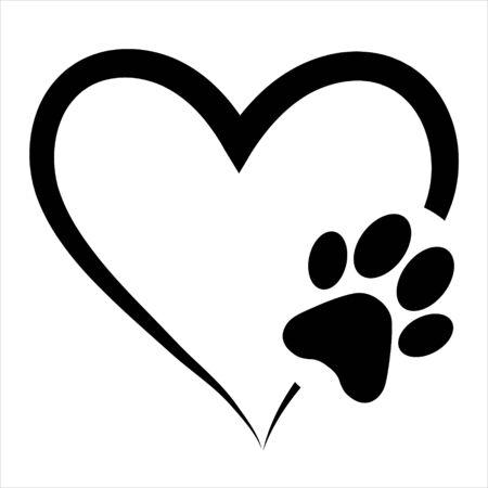 Stampa della zampa di simbolo di amore animale con cuore, vettore isolato Vettoriali