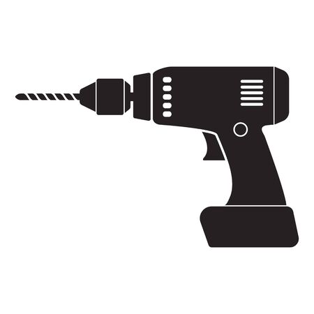 Home electric drill icon. Isolated on white background Illustration