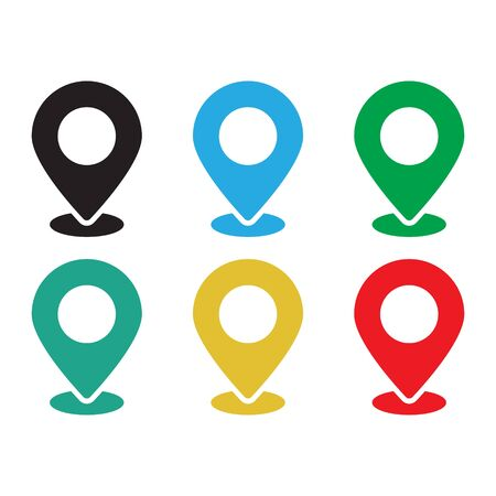 Set of colored map pins. Location map icon. Vector illustration isolated on white background.