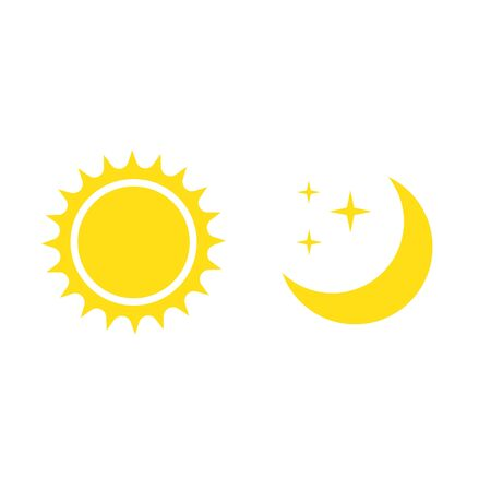 Night symbol of the moon with stars and sun, vector on white background. Ilustrace