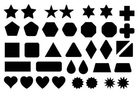 Basic shape elements with sharp and rounded edges vector set. Vektoros illusztráció