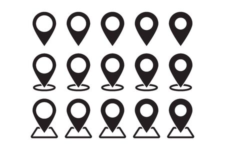 Set of maps pins. Location map icon.