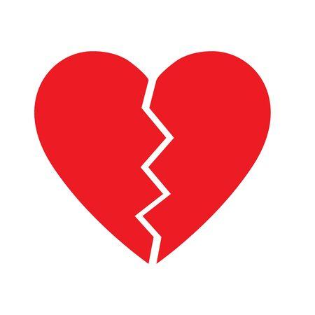 Broken Heart vector icon. red broken heart isolated illustration Иллюстрация