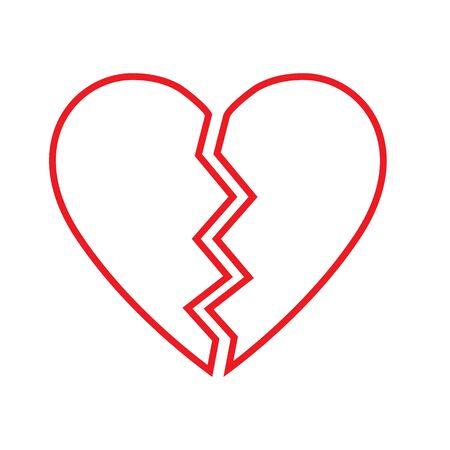 Broken Heart vector icon. red broken heart isolated illustration Фото со стока - 130647089