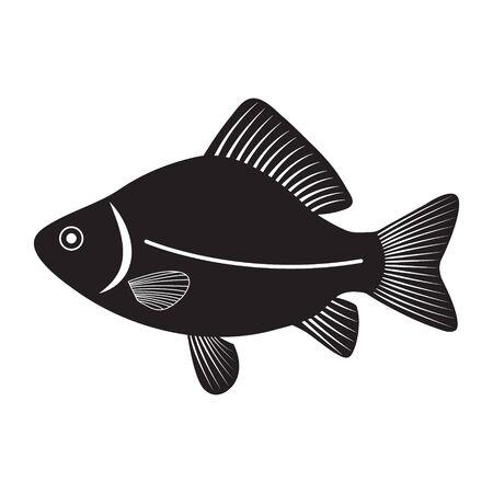 River fish, Circuit Carp, vector silhouette isolated Ilustracja