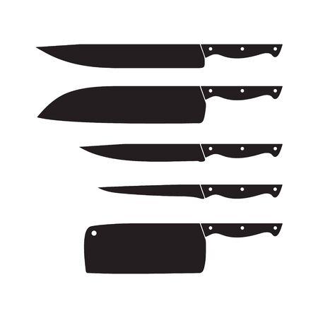 Set di coltelli, icona di coltello, set, illustrazione vettoriale isolato su sfondo bianco