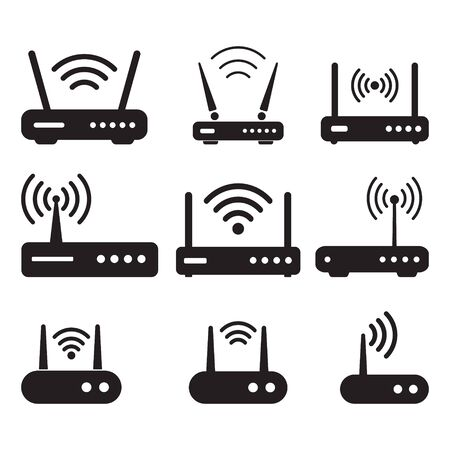 Router related signal icon isolated, wifi router