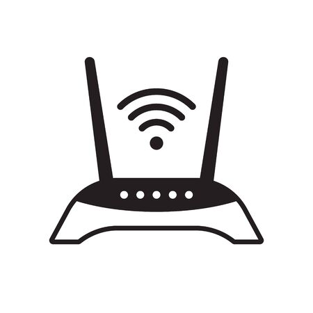 Router icon, Router related signal icon isolated, wifi router Ilustrace