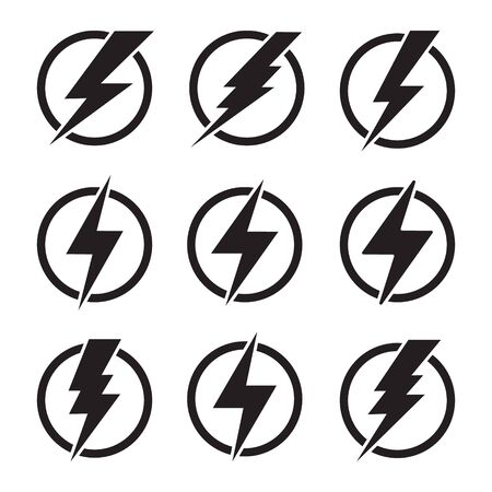 Lightning, electric power vector design element. Energy and thunder electricity symbol concept. Lightning bolt sign in the circle. Power fast speed logotype