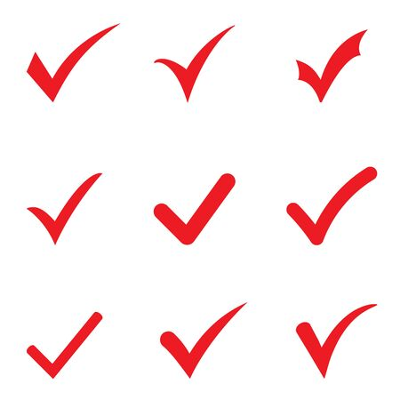Set of red tick icons. Vector red confirm icons set on white background