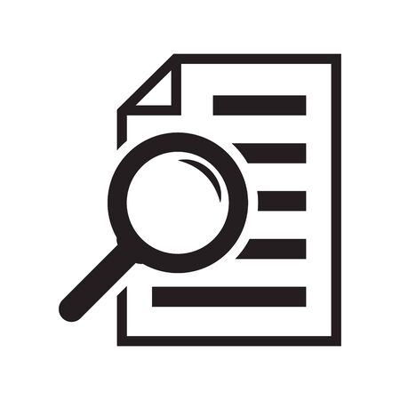 File search icon, document search, vector isolated. Document with magnifier loupe business concept. 스톡 콘텐츠 - 131848616