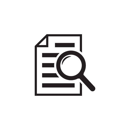 File search icon, document search, vector isolated. Document with magnifier loupe business concept. 스톡 콘텐츠 - 131848229