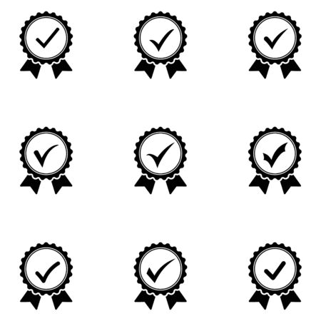 Black icon approved or certified medal. Isolated on white background. Flat design vector illustration. Çizim